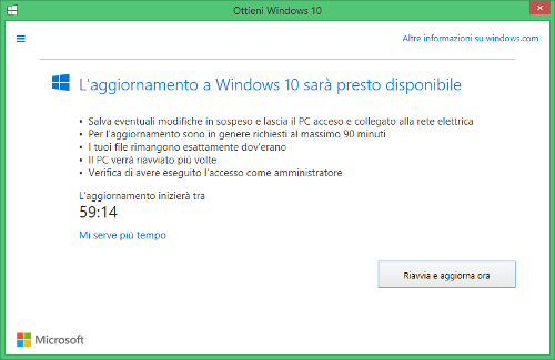 aggiornamento Windows 10 presto disponibile